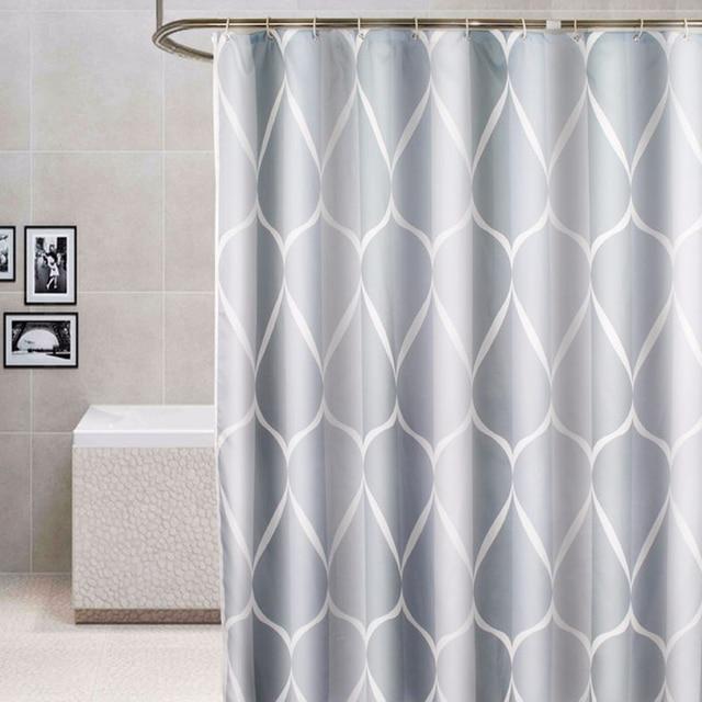 Wavy Print Waterproof Polyester Shower Curtain Bathroom Modern Sheer Panel Decor With 12 Hooks