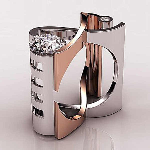 หรูหราแฟชั่นผู้หญิง Zircon แหวนสไตล์ที่ไม่ซ้ำกัน GOLD สีแหวนหมั้นแหวนแต่งงาน VINTAGE