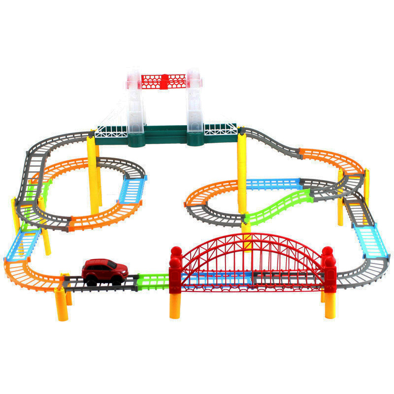 Car Racing Magical Track City High Speed Rail Electric Highway Vehicle Race Track Driving With Light Music Toys For Children
