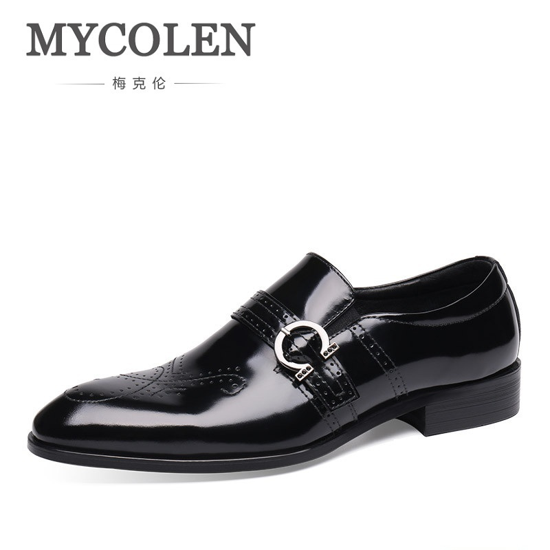 все цены на MYCOLEN High Quality Hand Carved Bullock Genuine Leather Men Formal Shoes Party Pointed Toe Dressy Weddings Men Dress Shoes