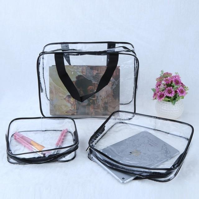 3 pcs Limpar Portátil Maquiagem Cosméticos de Higiene Pessoal Viagem Bath Wash Bolsa De Armazenamento Transparente Saco Organizador À Prova D' Água Compo o Saco