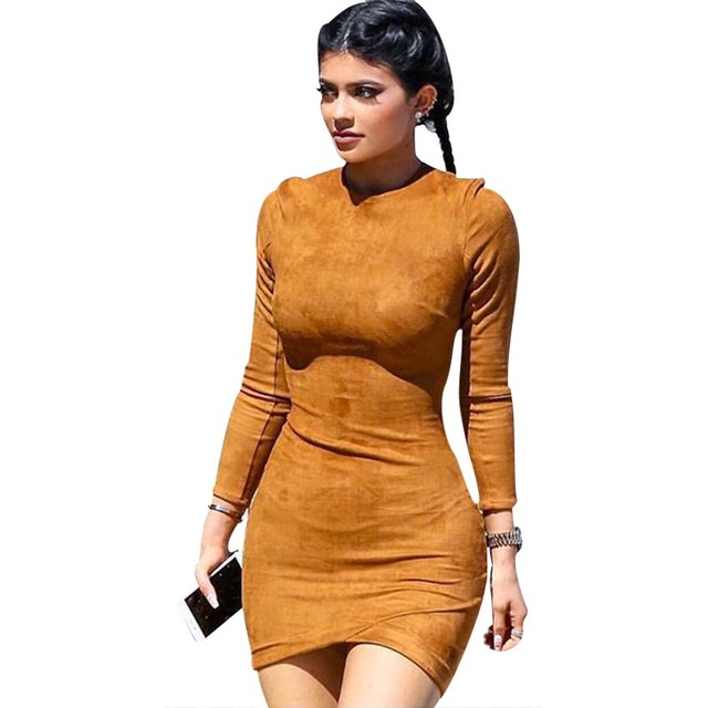 2016 Long Sleeve Slim Party Dress Sexy Club Brown Vestido Women Spring  Dresses Kylie Jenner Skin Tight Faux Suede Bodycon Dress 56a9dd4aefb6
