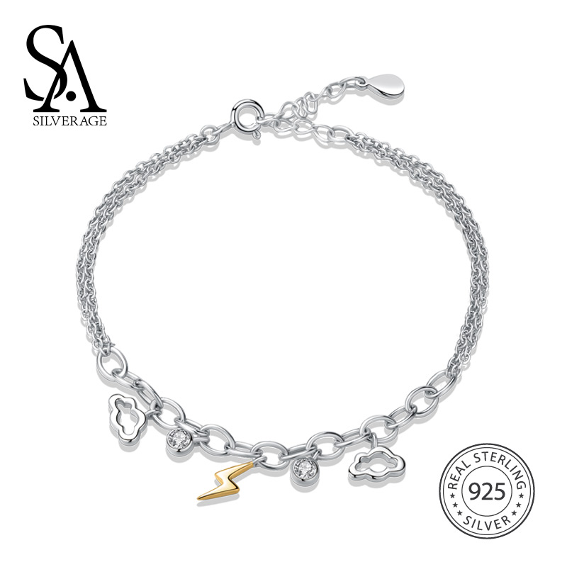 SA SILVERAGE 925 Sterling Silver Sky City Lightning Cloud Personality Bracelets & Bangles for Women Fine Jewelry Gold Color
