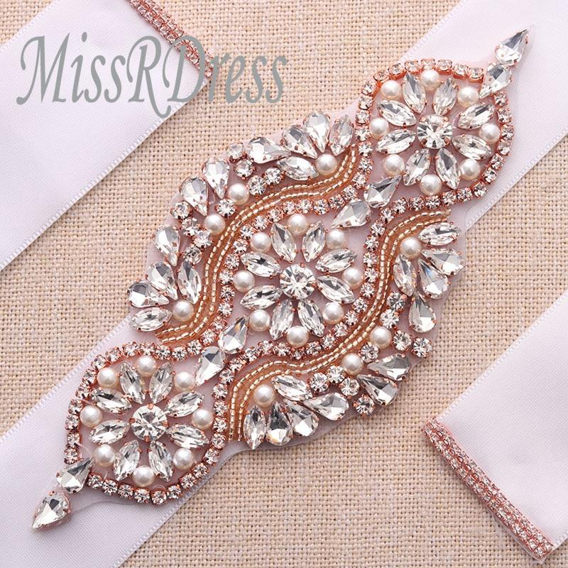 MissRDress Rhinestones Wedding Belt Rose Gold Crystal Bridal Belt Pearls Wedding  Sash For Bridal Bridesmaid Dresses 036b61926910