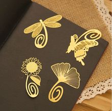 1pcs Cute Kawaii animal Gold Bookmark Creative Metal Bookmarks for books macker Paper Creative Products Stationery