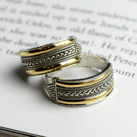 Real Pure Rings 925 Sterling Silver Party Ring Women Antique Punk Twisted Pattern Gold Plated Fine Jewelry Bague Argent