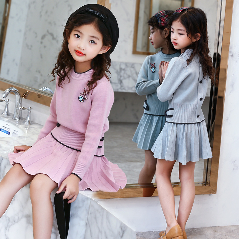 Autumn New Pattern GirlChild Fashion Korean Knitting Solid Color Wool Bouffancy Short Skirt Sweater Suit 2 Pieces Kids Clothing blktee new golf winter skirts wool thicken thermal short skirt autumn sportswear white navy stripped bright 2 colors s xl lady