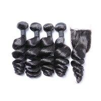 Peruvian Hair Loose Wave Human Hair With Closure Thick Hair Weave 4 Bundles With Closure Full Head Brenda non Remy Hair FreeShip