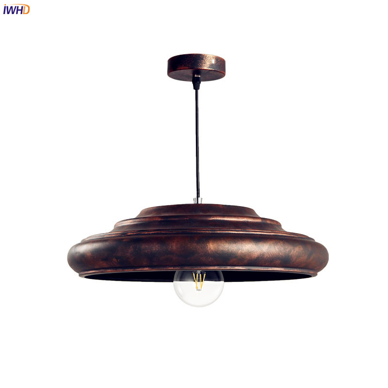 IWHD Vintage Retro LED Pendant Lights Iron Wrount Restaruant Dinning Living Room Loft Style Industrial Pendant Lighting Fixtures