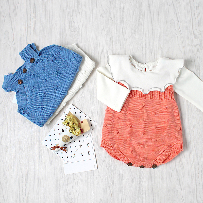 70b2092d535 0 24M Infant romper Newborn Baby Knitting Clothes Baby Jumper Girl Boys  Cotton Knit Rompers Sleeveless Baby Knitted Clothing-in Rompers from Mother    Kids ...