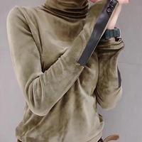 2018 Женский бархатный теплый облегающий пуловер с высоким воротом, свитера, новая мода, Осенний корейский пуловер с длинным рукавом, свитер