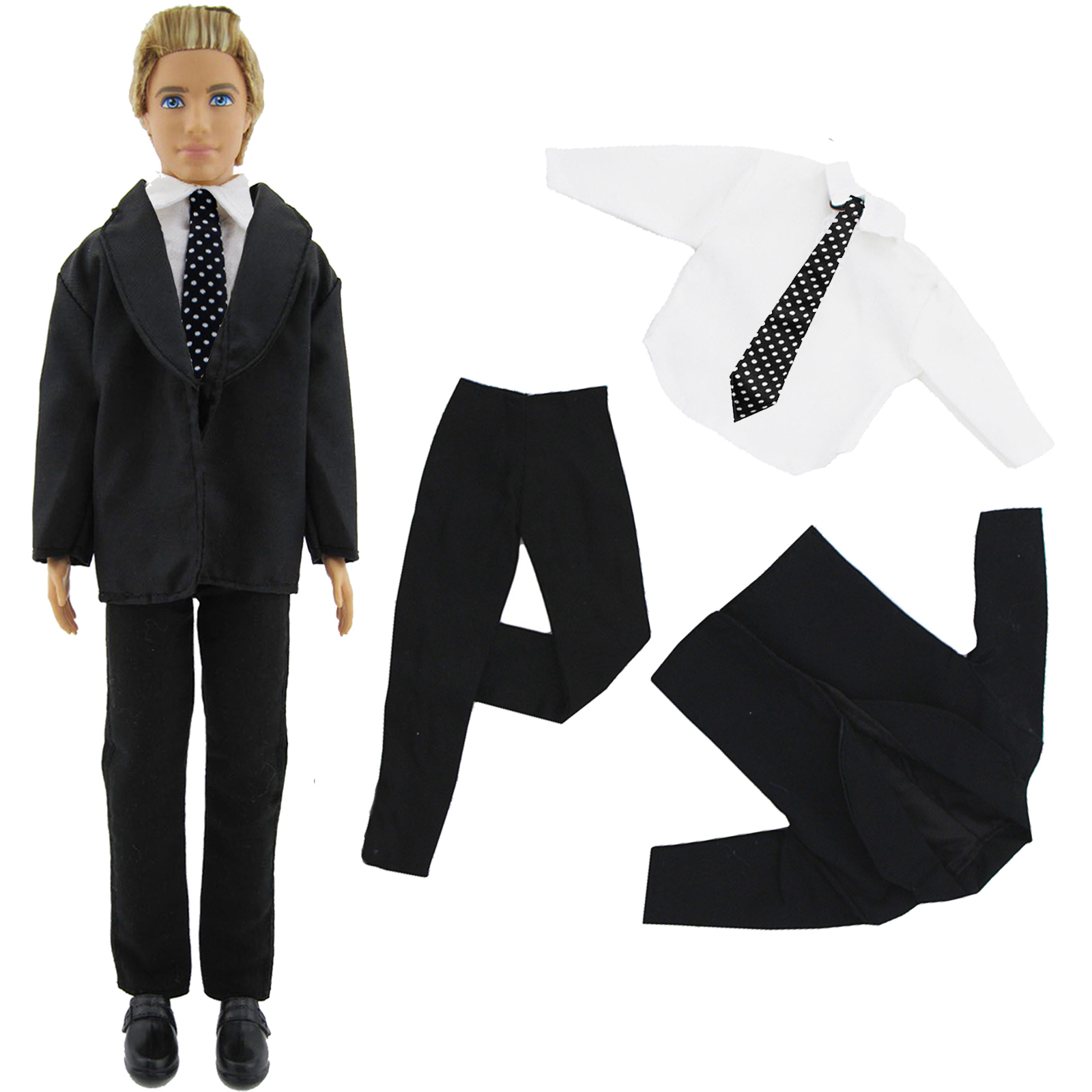 Fashion Formal Business Suit Tie Tuxedo Black Coat Wedding Party Outfit Dress Clothes For Barbie Ken Doll Accessories