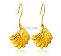 24 К желтого золота Серьги/3D Bay любителей Seashell мотаться 7 г