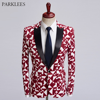 Mens Red White Plaid Print Tuxedo Suit Blazer 2018 Brand New Single Breasted Suit Jacket Wedding Party Nightclub Stage Blazers