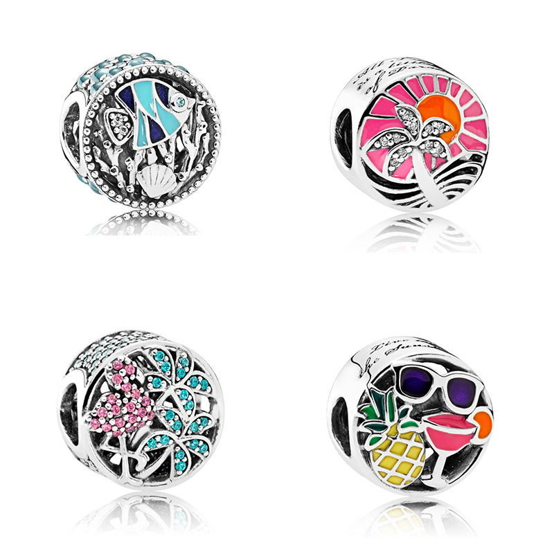 Silver Beads Charms Beach Travel Time Fish Flower Coconut Tree Bead for Diy Women Charms Bracelets & Bangles