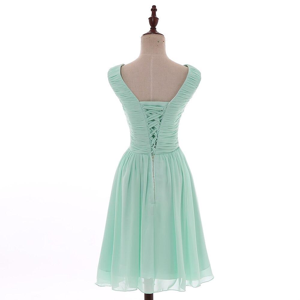 AXJFU robe de demoiselle d'honneur plissée en mousseline de soie vert menthe princesse vert col en v sans manches courte robes de demoiselle d'honneur 100% vraies photos - 2