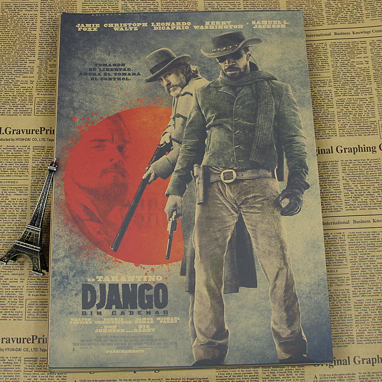 BG-201 Classic famous movie poster django Old Generation wall picture Vintage Poster HD Bar/cafe Retro Wall Art Crafts Sticker image