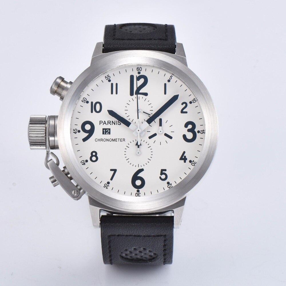PARNIS 50mm brossé en acier inoxydable 316L cadran blanc montre pour hommes quartz mouvement ceinture A1-07