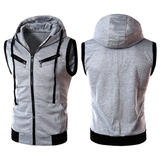 Men Vest Hoodie Sleeveless Zipper Jacket Vest Waistcoat Tops Hooded Coat Winter Fashion Casual Coats Male Hooded