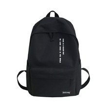 Solid Black Backpack Preppy Style Letters School Bag for Teenage Girls Brand High Quality Nylon Leisure Or Travel Bags Package все цены