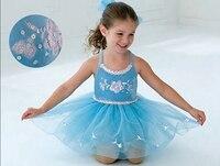 New blue princess tutu kids jazz Ballet Dress lyrical Bailarina Balet birthday party dancing dress leotard