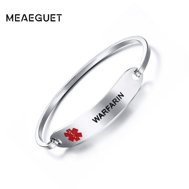 Meaeguet Medical Alert Id Bracelet Bangle Warfarin Blood Thinner Diabetes Coumadin Epilepsy Stainless Steel Women Jewelry