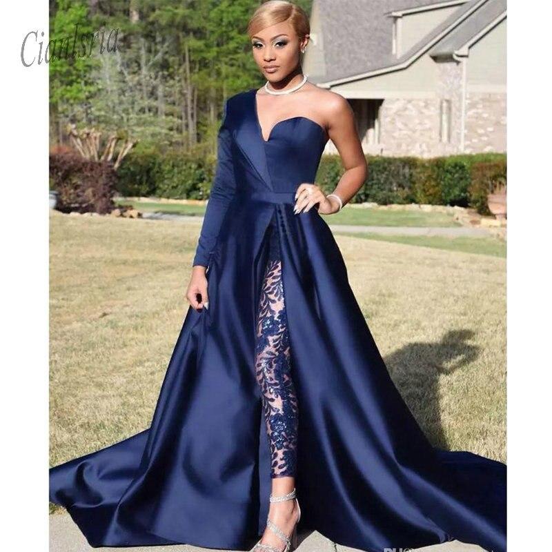 Trend Mark 2019 Bescheiden Blue Jumpsuits Twee Stukken Prom Jurken Een Schouder Front Side Slit Broekpak Avondjurken Party Dress Plus Size