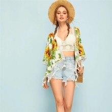 цена на womens tops and blouses Cardigan Kimono Tassel Fringes Ladies Sunflower Print Sheer Sunscreen Shirts