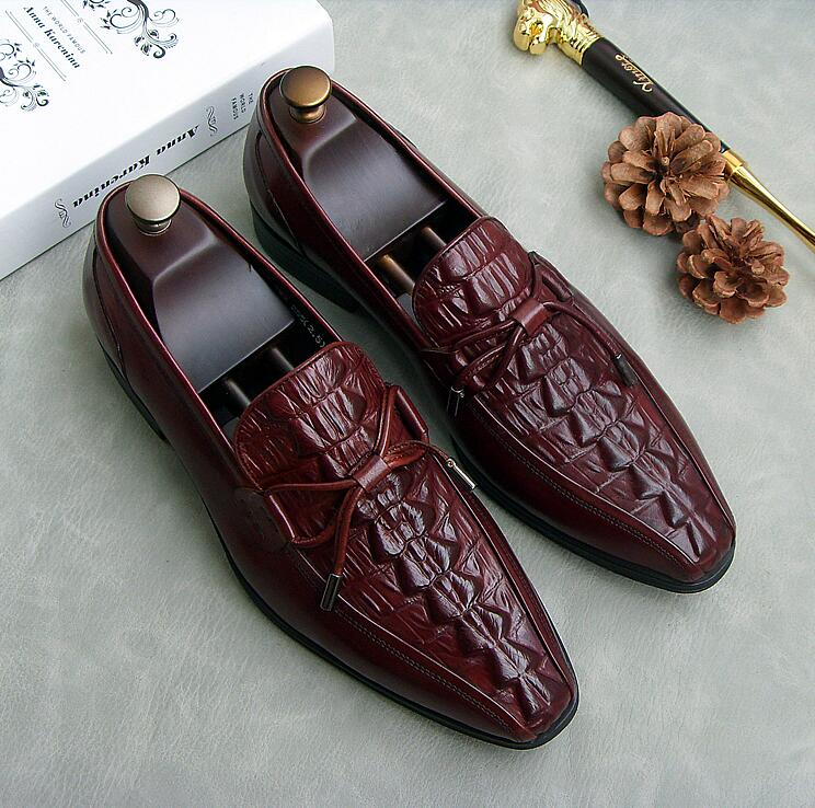 Pointed Toes Dress Shoes Men Slip On Genuine Leather Bowtie Alligator Pattern Smart Casual New Red Wedding Shoes Flats Loafers new fashion gold snakeskin pattern loafers men handmade slip on leather shoes big sizes men s party and prom shoes casual flats