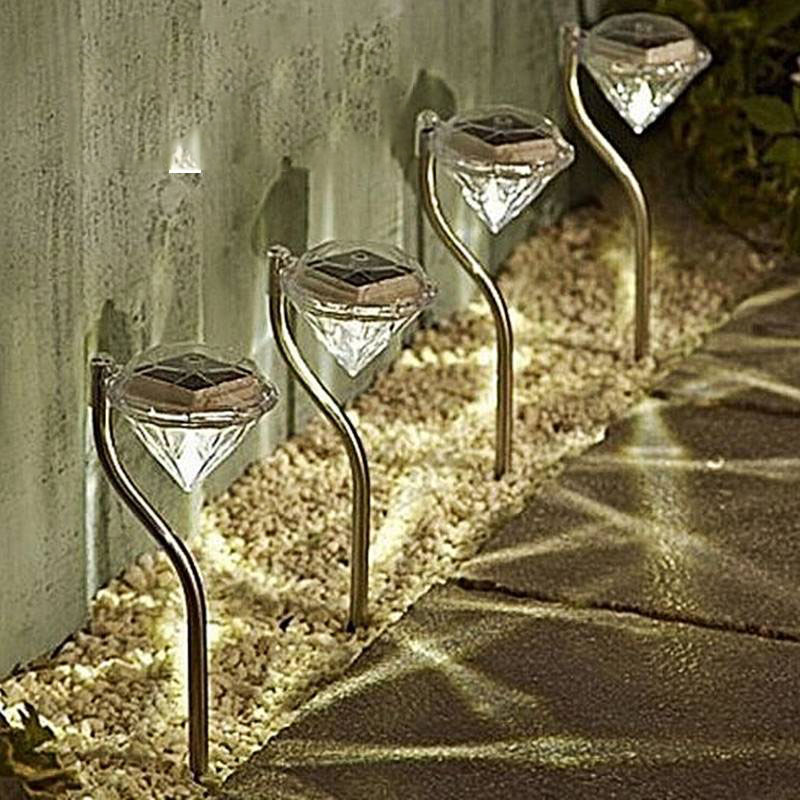 4pcs Solar Light LED Garden Lights Colorful Outdoor LED Lamps Path Stake Decoration Diamonds Lawn Lamp Pathway Solar Lights