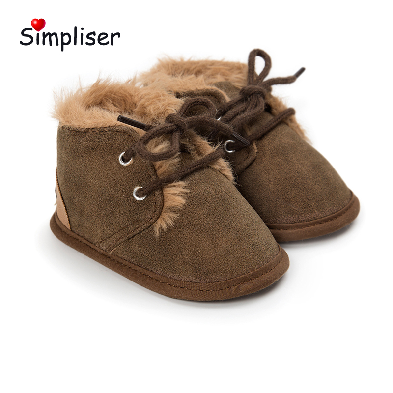 Baby Girls Boys Soft Winter Booties Lace up Newborn Baby Anti-slip Warm First Walkers In ...
