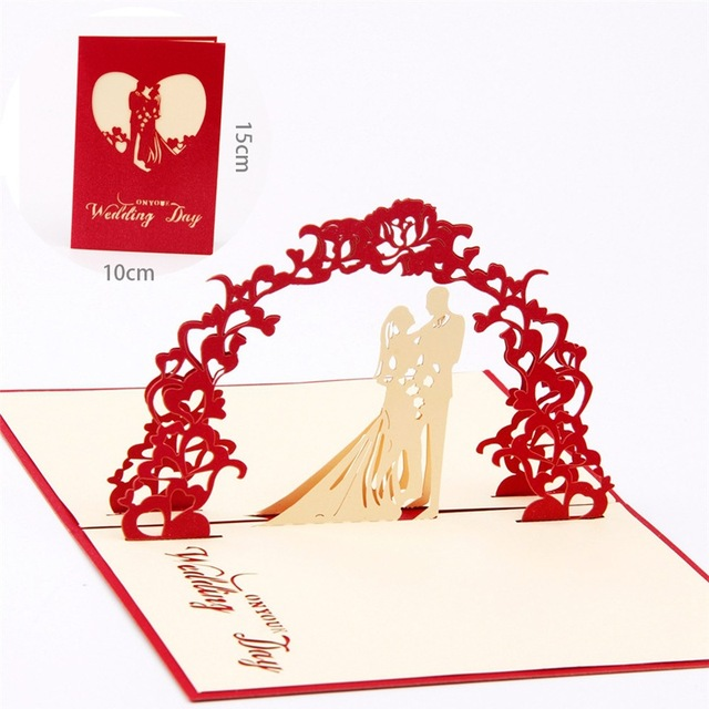 1 PC 3D Marriage Card Love Memory Wedding Invitations Free Shipping