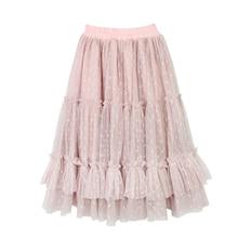 חדש 2 14T מנוקדת בנות ורוד טוטו חצאית ילדי ילדי סתיו נסיכת ארוך לפרוע חצאיות כותנה רירית רשת קפלים Pettiskirt