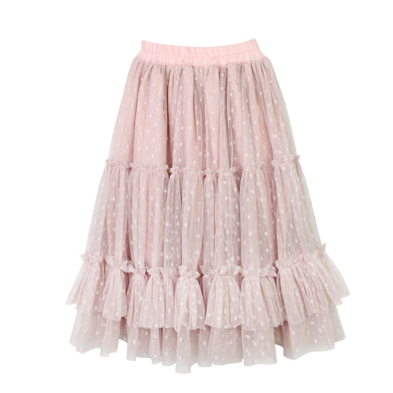 New 2-14T Polka Dot Girls Pink Tutu Skirt Kids Children Autumn Princess Long Ruffle Skirts Cotton Lining Mesh Pleated Pettiskirt pleated mesh skirt