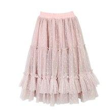 Yeni 2 14T Polka Dot kız pembe Tutu etek çocuklar çocuk sonbahar prenses uzun fırfır etekler pamuk astar örgü pileli Pettiskirt