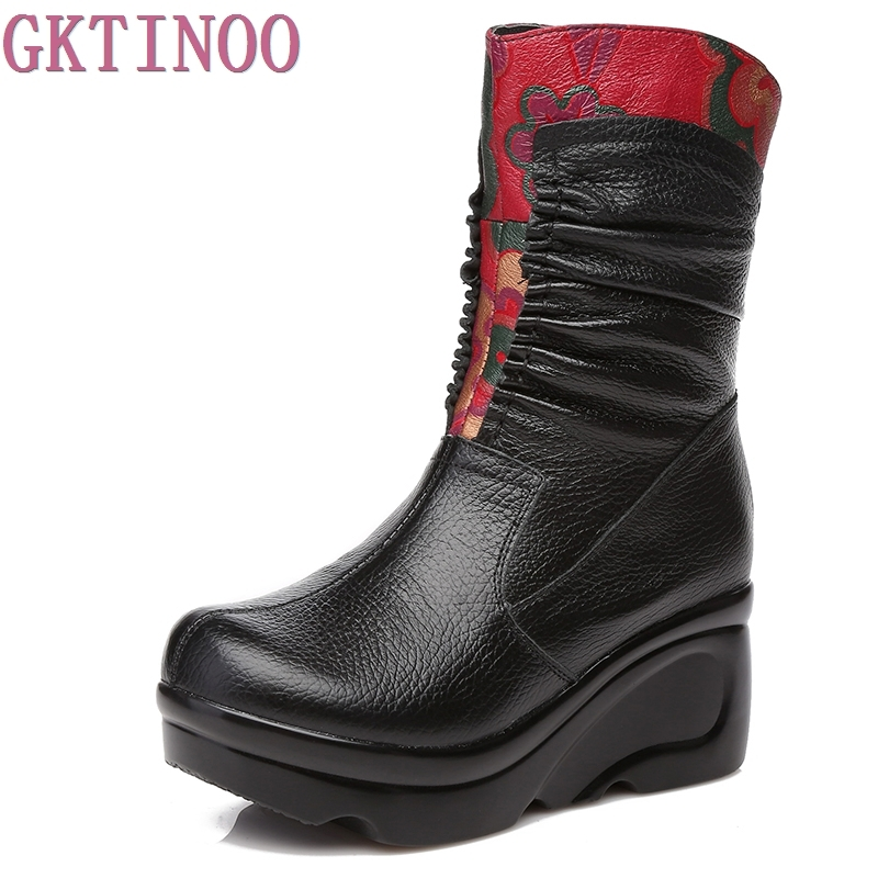 GKTINOO New Arrival Fashion Women Winter Genuine Leather Boots Handmade Vintage Slip resistant Boots Wedges Shoes