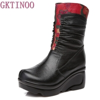 New Arrival Fashion Women Winter Genuine Leather Boots Handmade Vintage Slip Resistant Martin Boots Wedges Shoes
