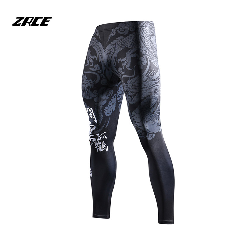 ZRCE Chinese Style Compression Tight Leggings 3D Prints Joggers Fitness Men's Pants Hip Hop Streetwear Training Men's Trousers