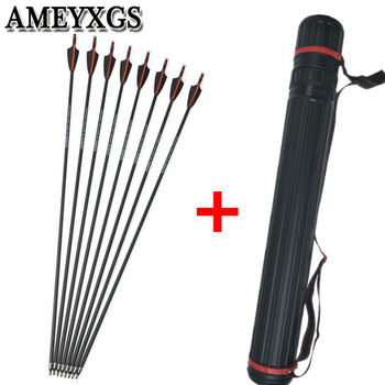 "12pcs 30"" Spine 400 Archery Carbon Arrows Explosion Proof Ring Nocks With Arrow Quiver For Outdoor Hunting Shooting Accessories"