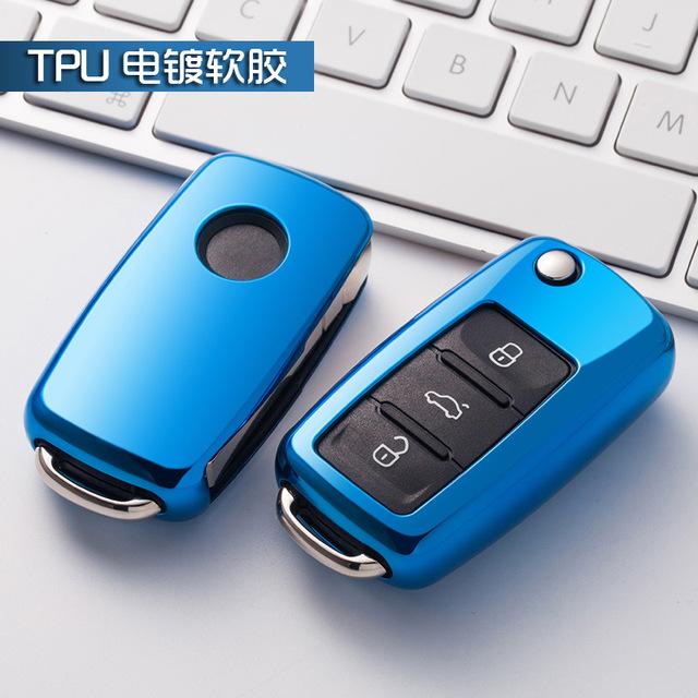 Soft TPU car key cover case shell fob for VW Golf Bora Jetta POLO GOLF Passat For Skoda Octavia A5 Fabia For SEAT Ibiza Leon