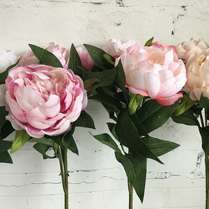 Image 3 - New Year Artificial Silk+Plastic Peony Flower branch with leaves flores peonies for indoor Home decor diy wedding decorations