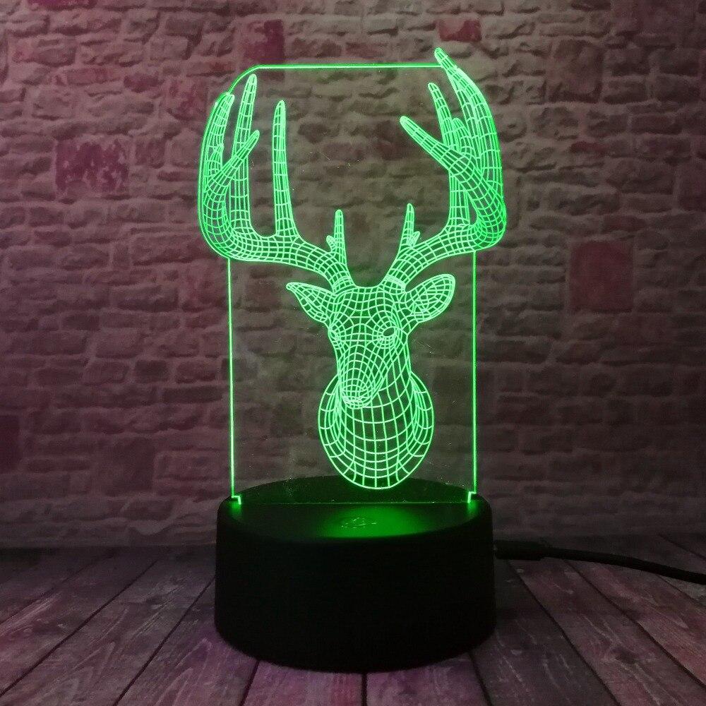 Novelty 3D Long Horned Deer Christmas Decor Night Light Lamp Gadget - Night Lights - Photo 3