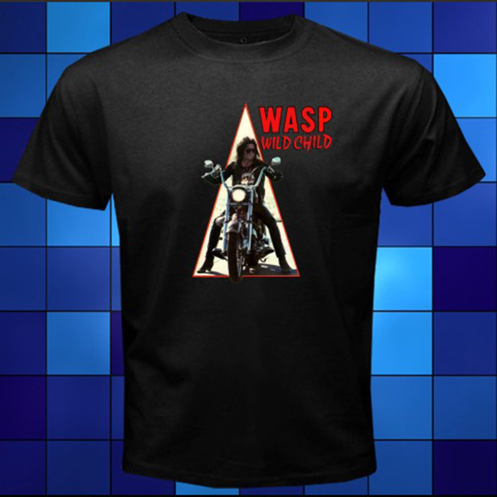 Gildan New WASP W.A.S.P. Wild Child Metal Rock Band Black T-Shirt Size S M L XL 2XL 3XL Cool Slim Fit Letter Printed