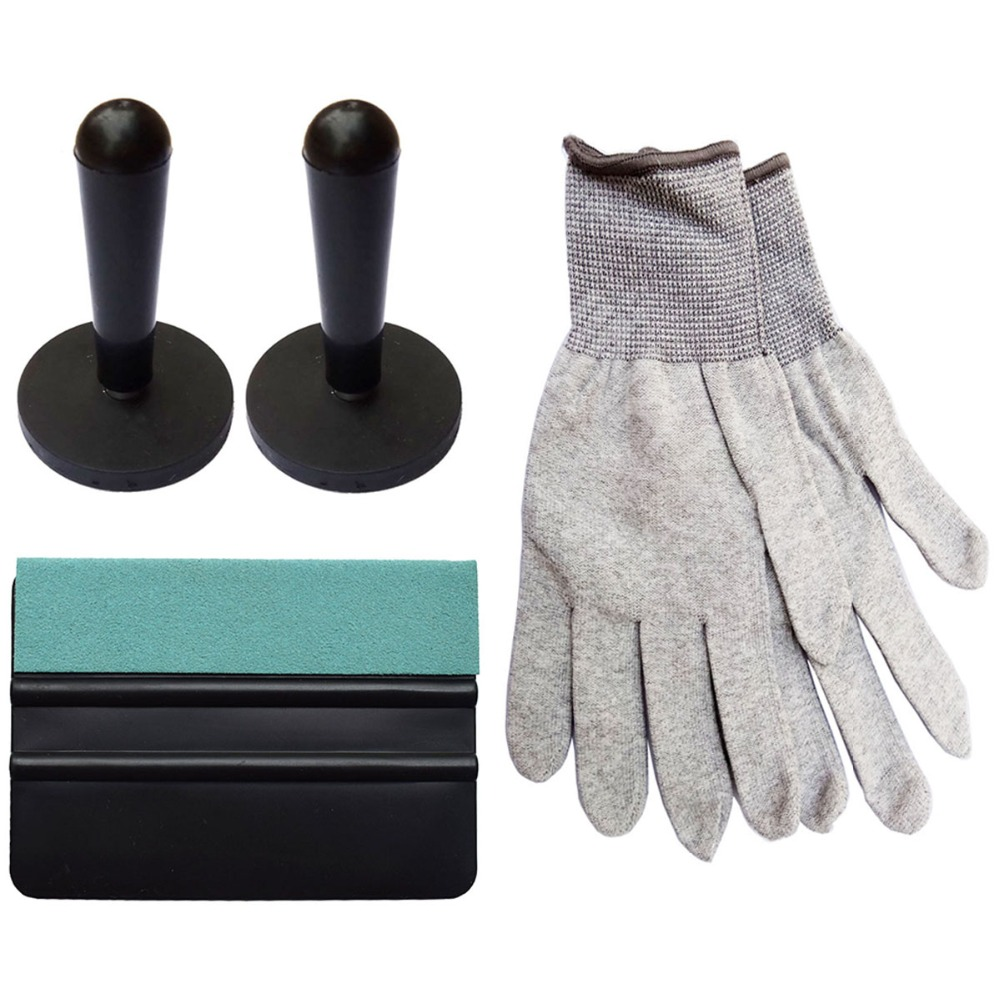 Squeegee with Suede Edge Window Tint Scraper Magnetic Holder Carbon Fiber Nylon Working Gloves Vinyl Wrap