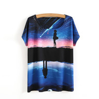 2017 Summer Style Women T Shirt With 3D Galaxy Space Print T Shirt Cotton Plus Size