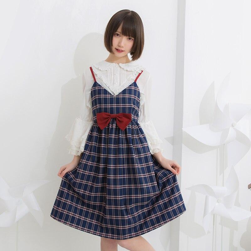 Et Sœur Doux Bleu Sweet Japonais Bow Plaid Exclusive D'été Belle Lolita Printemps Avec Robe Princesse Lg057 KJcl1TF3
