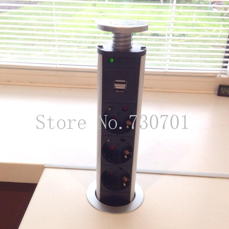 Pop <font><b>Up</b></font> Electrical Power Outlet Socket <font><b>Kitchen</b></font> Desk Worktop 2 charge USB & 3 power New 150pcs/set