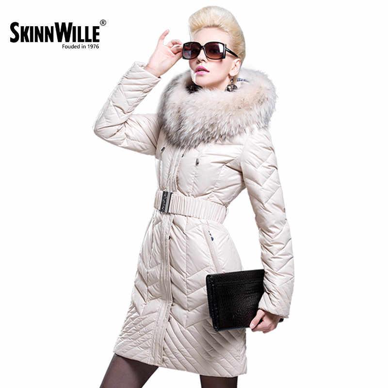 SKINNWILLE 2017 Модный пуховик с широким меховым воротником Длинный пуховик  Новая коллекция Зимнее пальто Натуральный мех Теплое зимнее пальто