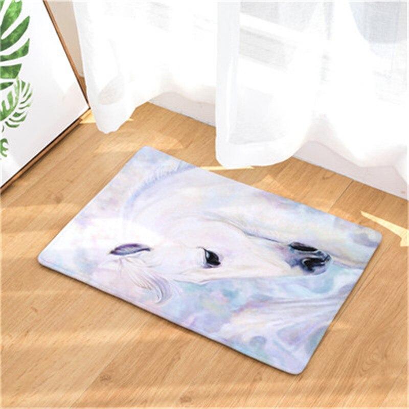 Willkommen Bodenmatte Pferd Druck Flanell Eingang Teppich 40x60 cm 50X80 CM Küche Teppich Bad Rutschfeste Tapete