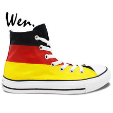 Wen Design Custom Hand Painted Shoes Germany Flag Color High Top Men Women's Canvas Sneakers for Birthday Gifts